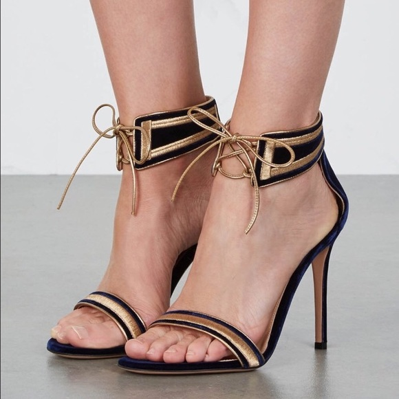 129a8b149a03 Gianvito Rossi Augusta sandals navy gold suede 6